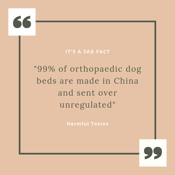 Text reads - 99% of orthopaedic dog beds are made in China and are sent over unregulated.